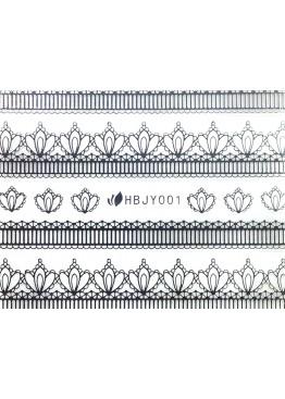 Наклейки 3D HBJY Кружево серебрянное 001