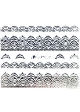 Наклейки 3D HBJY Кружево серебрянное 002