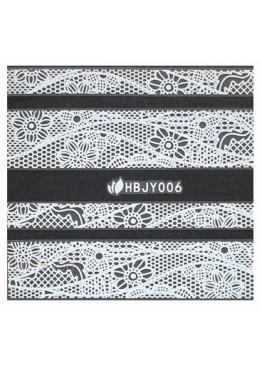 Наклейки 3D HBJY Кружево белое 006