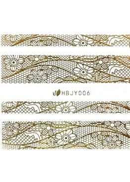 Наклейки 3D HBJY Кружево золотое 006