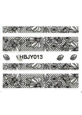 Наклейки 3D HBJY Кружево черное 013