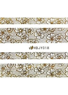 Наклейки 3D HBJY Кружево золотое 017