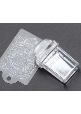 Стемпинг  инструмент силиконовый прозрачный прямоугольный