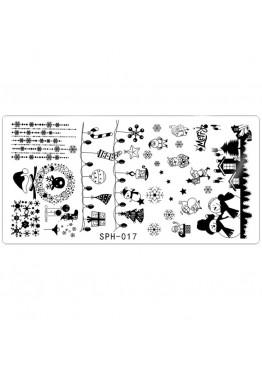 Стемпинг ММ пластина SPH-017 Новогодняя