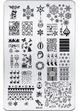 Стемпинг ММ пластина MR-02 Новогодняя Материал для дизайна